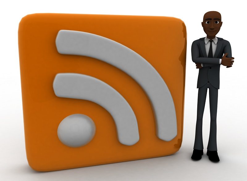 3d man standing beside rss feed concept on white background, front angle view